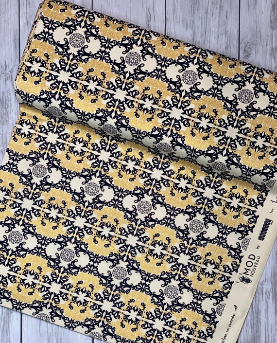 Jay-Cyn Designs for Birch Organic Fabrics, Mod Nouveau, CANVAS, Horned Lace Metallic- Sold by the half-yard cut continuous