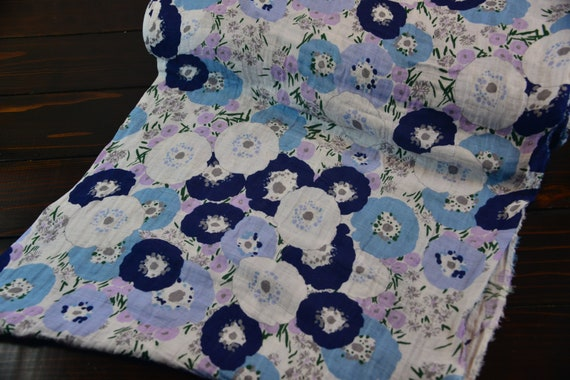 Fresh Cut Embrace Double Gauze Floral in lilac and blue from Shannon Fabric-Sold by the yard cut continuous