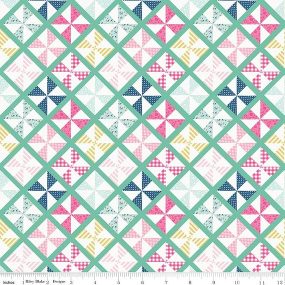 I'd Rather Be Glamping, Pinwheels Mint, by Dani Mogstad for Riley Blake Designs, sold by the 1/2 yard