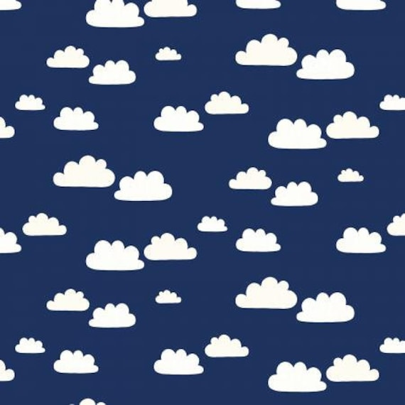 Summer Skies - Summer Clouds - Night Fabric- AE201-NI5- Cotton and Steel/RJR- Sold by the 1/2 yard or the yard