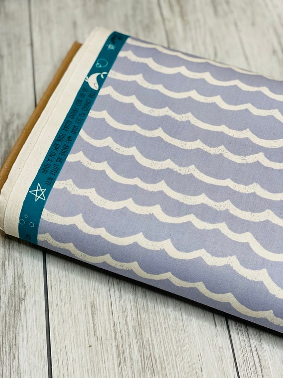 Waves- Fog Unbleached fabric- from Kujira & Star Collection by Rashida Coleman-Hale for Cotton + Steel- Sold by the 1/2 yard or the yard