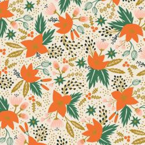 Holiday Classics,  Poinsettia, Cream Metallic Fabric, RP602-CR2M , By Rifle Paper Co, Cotton and Steel, sold by the 1/2 yard or the yard