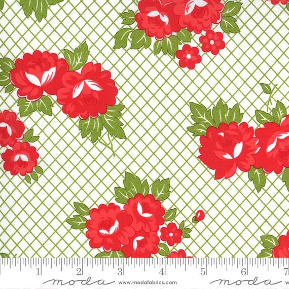 Sunday Stroll White/Green, 55221 20 Moda, By Bonnie and Camille, for Moda, Sold by the 1/2 yard or the yard