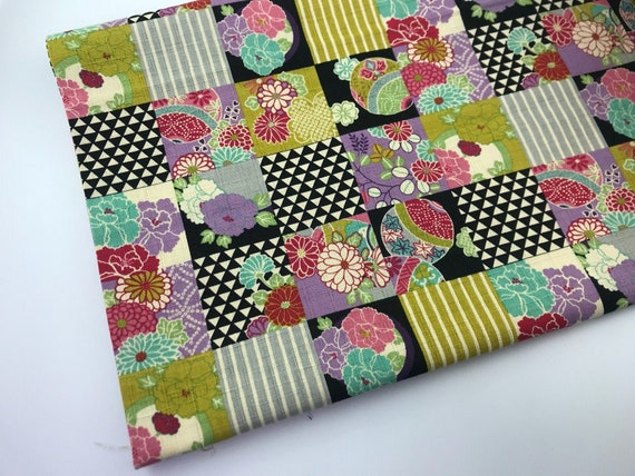 Kokka Dobby Fabric, Purple Green Cotton Fabric, Patchwork, Flower Quilt Block in Lilac Black Aqua Olive Green and Grey, sold by the 1/2 yard