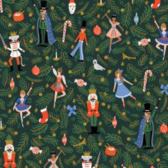 Holiday Classics,  NutcrackerEvergreen Metallic Fabric, RP605-EV1M, By Rifle Paper Co,Cotton and Steel, sold by the 1/2 yard or the yard