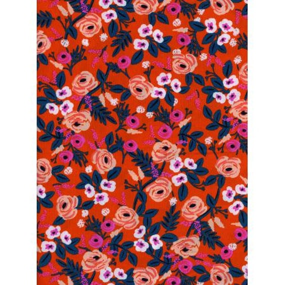 RAYON Paint Roses Orange, Rifle Paper Co, Wonderland,Cotton and Steel, Red Floral Rayon Challis, 8024-15, Sold by the half yard or the yard