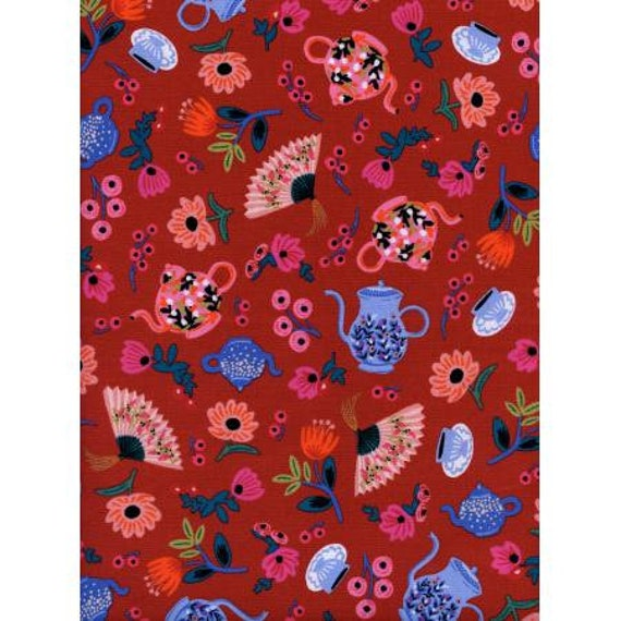 AB8019-002 Wonderland - Garden Party - Crimson Fabric- Rifle Paper Co- Cotton and Steel/RJR- Sold by the 1/2 yard or the yard