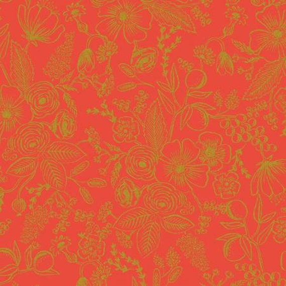 Holiday Classics - Colette - Red Metallic Fabric- RP610-RE2M- Rifle Paper Co.- Cotton + Steel- sold by the 1/2 yard or the yard