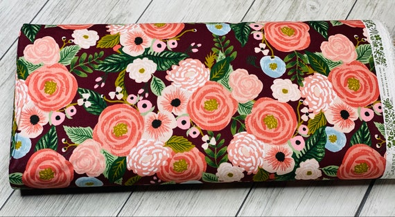 Garden Party - Juliet Rose - Burgundy CANVAS Fabric- RP520-BU1C-Rifle Paper Co-Cotton and Steel/RJR- Sold by the 1/2 yard or the yard