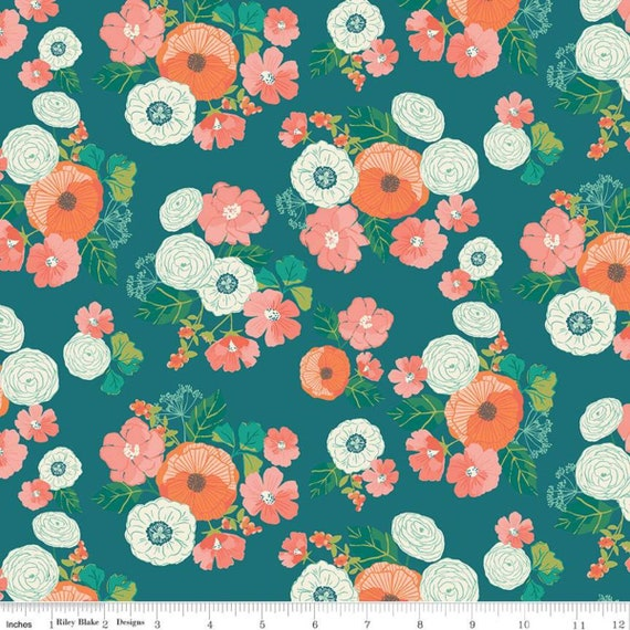 Midsummer Meadow, Wild Bouquet Teal, by Katherine Lenius for Riley Blake Designs, sold by the 1/2 yard or the yard