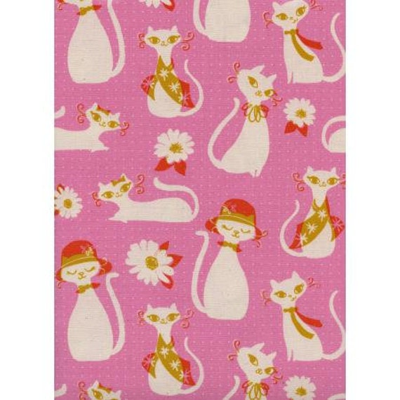 Beauty Shop - Fancy Cats - Pink Unbleached Cotton Fabric-C6002-001- sold by the 1/2 yard or the yard