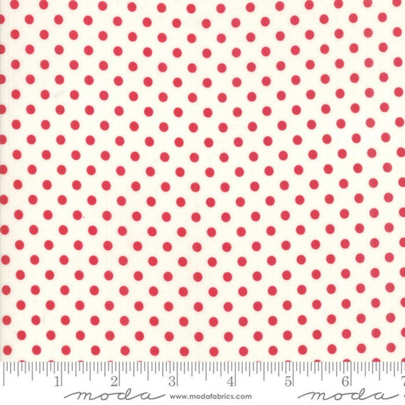 Little Snippets by Bonnie and Camille - Dot - Cream/Red - Moda 55185 21- Sold by the half-yard cut continuous