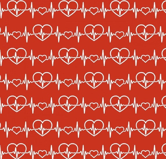 Nurse Heartbeat Cotton Fabric on Red, Tribute Collection by Fabric Traditions,FAT17495-R, sold by the 1/2 yard or the yard