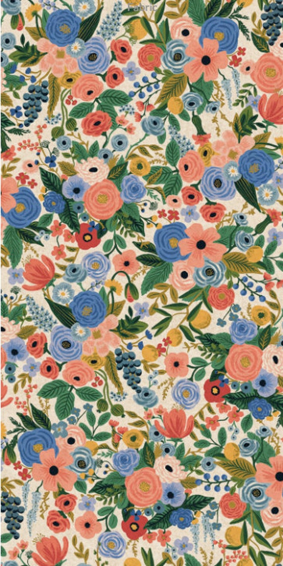 CANVAS Fabric - Cotton + Steel - Wildwood-Garden Party Blue CANVAS by Rifle Paper Co. RP100-BL4C-Sold by the half-yard or the yard