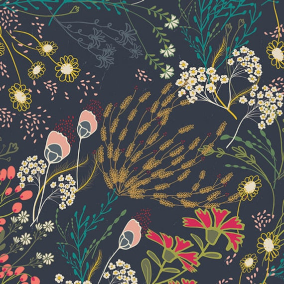 Meadow Dim, From Indie Folk, by Pat Bravo for Art Gallery Fabrics, Sold by the 1/2 yard or the yard