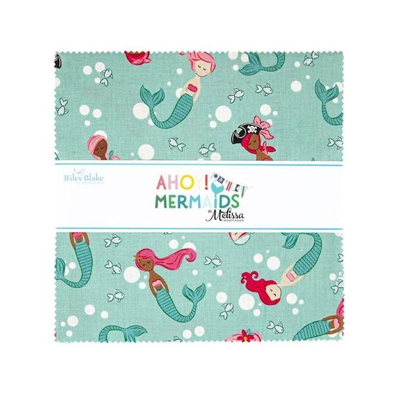 "Ahoy! Mermaids collection by Melissa Mortenson for Riley Blake Designs, 10"" Stacker/precut bundle includes 42 pieces"