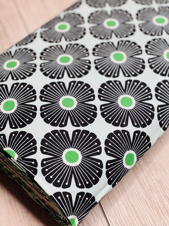 On a Spring Day - Blossom - Kelly Green Canvas Fabric - LV402-KG4C- Cotton and Steel- RJR- Sold by the 1/2 yard or the yard