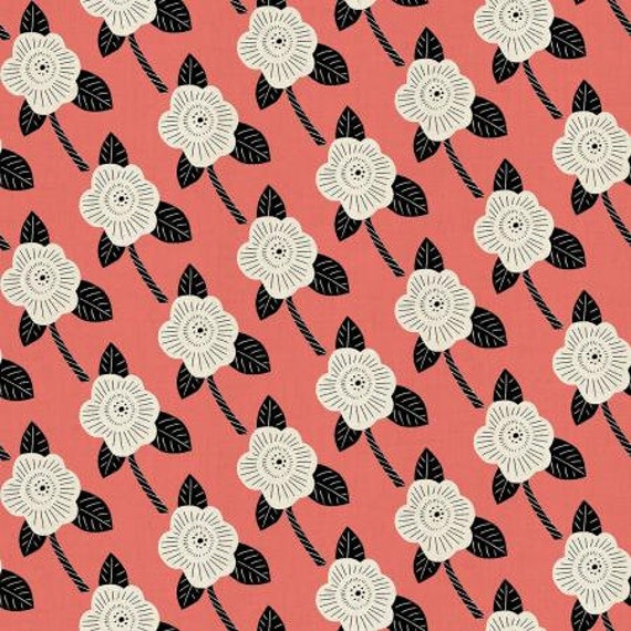 CF101-CO3U Kibori - Chico - Coral Unbleached Fabric- Cotton and Steel- RJR- Sold by the half-yard or the yard cut continuous