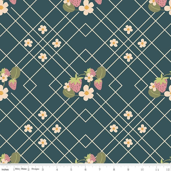 Strawberry Jam Lattice Navy, by Lauren Brewer Design, C9370-TEAL, Riley Blake Designs, sold by the 1/2 yard or the yard
