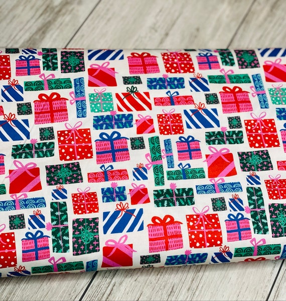 Paintbrush Studios, Flamingo Christmas Presents Multi, sold by the 1/2 yard or the yard