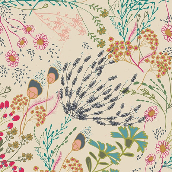 Meadow Vivid, From Indie Folk, by Pat Bravo for Art Gallery Fabrics, Sold by the 1/2 yard or the yard