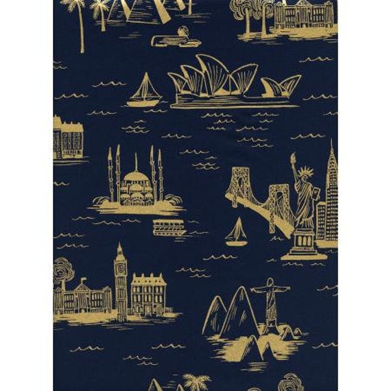 Les Fleurs - City Toile Navy Cotton Lawn Metallic Yardage by Rifle Paper Co. for Cotton+Steel  AB8006-011, sold by the 1/2 yard