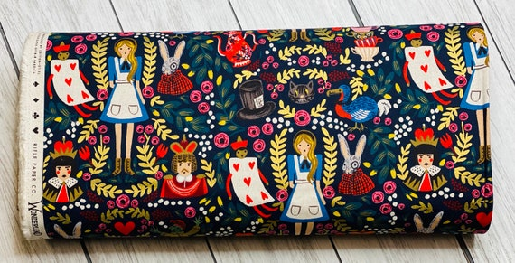 Wonderland, Navy CANVAS, Rifle Paper Co, Cotton and Steel, Sold by the 1/2 yard or the yard