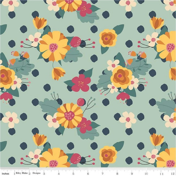 Strawberry Jam Main Teal, by Lauren Brewer Design, C9370-TEAL, Riley Blake Designs, sold by the 1/2 yard or the yard