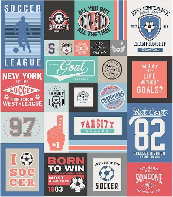 """Varsity Soccer Panel by Deena Rutter For Riley Blake Designs- P7953 coral- Panel Size 56"""" x 64"""""""
