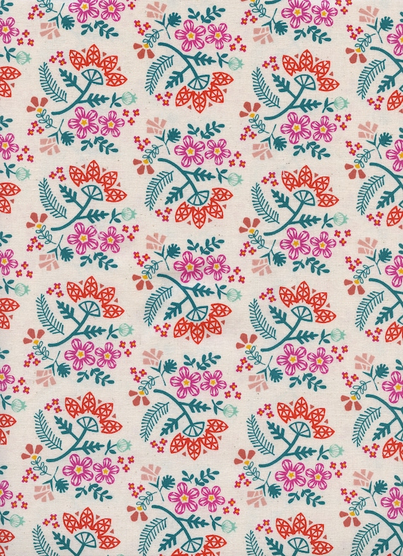 Paper Cuts - Paper Bouquet - Tangerine- Cotton Fabric- R1966-002- Cotton + Steel- Rashida Coleman-Hale- sold by the 1/2 yard or the yard