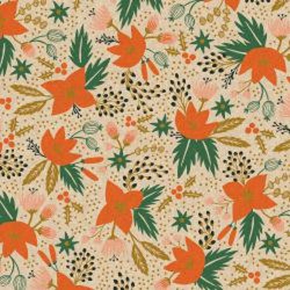 Holiday Classics,  Poinsettia, Cream Unbleached CANVAS Metallic Fabric, Rifle Paper Co, Cotton and Steel, sold by the 1/2 yard or the yard