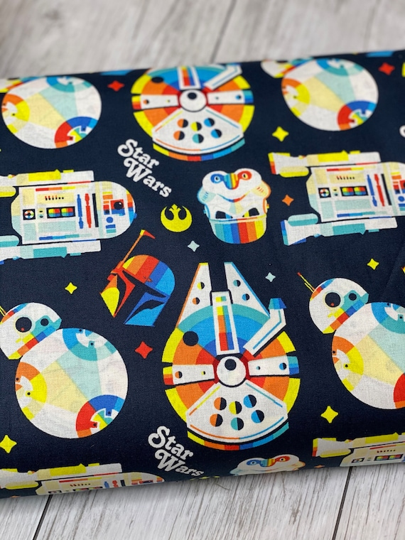 Star Wars - Retro Throwback - Rainbow - Cotton Fabric- Camelot Fabric- CAM73010910-2 - sold by the 1/2 yard or the yard