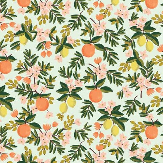 RP300-MI2 Primavera - Citrus Floral - Mint Fabric- sold by the 1/2 yard or the yard