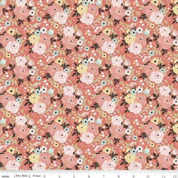 Joy In The Journey, Floral Coral, C10681-Coral, By Dani Mogstad, for Riley Blake, sold by the 1/2 yard or the yard
