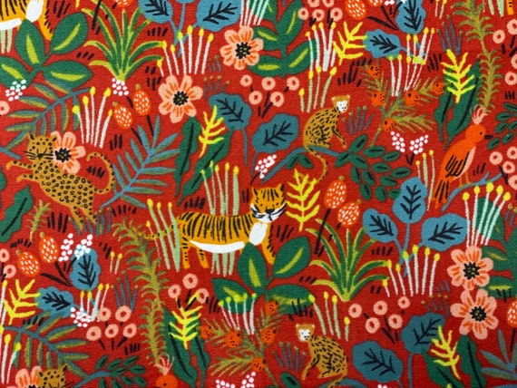 Menagerie-Jungle-Red-by Rifle Paper Co- for Cotton and Steel, sold by the 1/2 yard or the yard– cut continuously