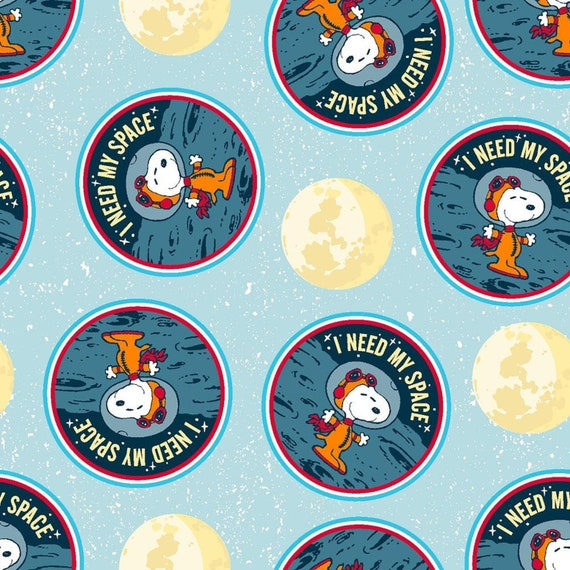 Peanuts Fabric, Snoopy Needs Space in Blue, From Springs Creative 100% Cotton sld by the 1/2 yard or the yard