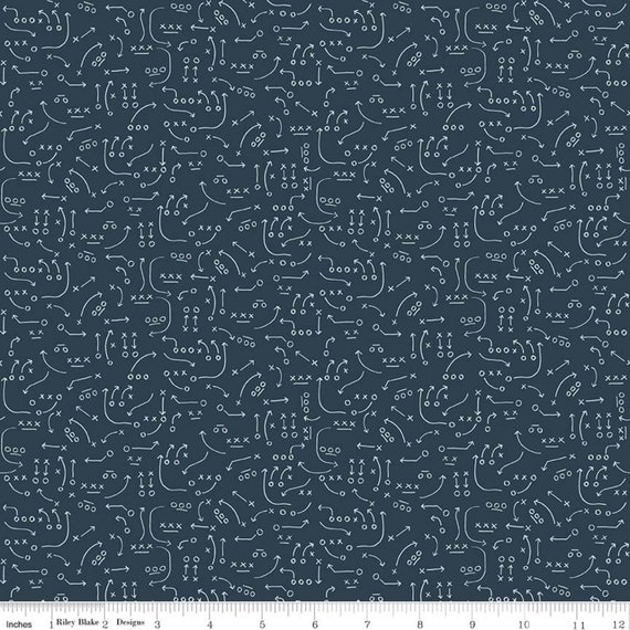 Varsity Fabric - Navy Playbook Fabric - Deena Rutter - Riley Blake Designs - Playbook Fabric - Sports Fabric - Sold by the 1/2 Yard
