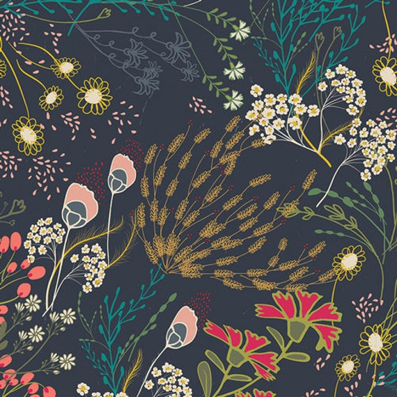 Meadow Dim in Rayon, from Indie Folk, By Pat Bravo, for Art Gallery Fabrics, sold by the 1/2 yard or the yard