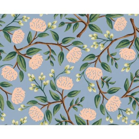 RP102-DU3 Wildwood - Peonies - Dusty Blue Fabric- Rifle Paper Co- Cotton and Steel/RJR- sold by the 1/2 yard or the yard
