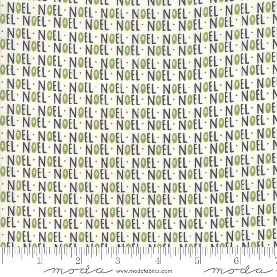 The Christmas Card Cream-Noel, By Sweetwater, 5771 14 Moda, Sold by the half-yard cut continuous