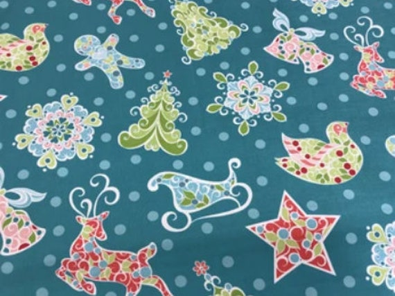 Contempo Christmas Magic Gingerbread Turquise Fabric, sold by the 1/2 Yard - Cut Continuously