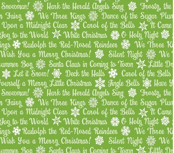 Christmas Magic - Contempo by Benartex - Amanda Murphy - Text or words on green, sold by the 1/2 Yard - Cut Continuously