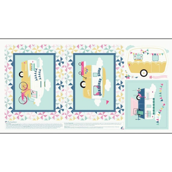 """I'd Rather Be Glamping Panel Blue by Riley Blake Designs - 24"""" x 43"""" Camping Trailers Pinwheels Cream"""
