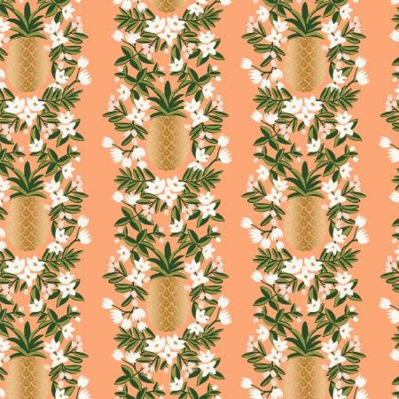 Primavera - Pineapple Stripe - Peach Metallic Fabric- rilfe Paper Co/RJR-RP302-PH3M- Sold by the 1/2 yard or the yard