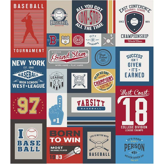"Varsity Baseball Panel 65""x64"" by Deena Rutter for Riley Blake"