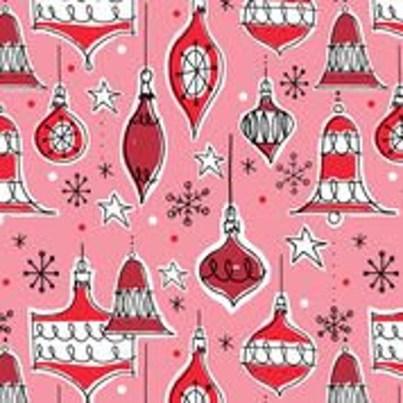 Jingle Mingle, Vintage Ornaments, Cloud9 Fabrics, Organic Cotton, Sold by the 1/2 yard or the yard