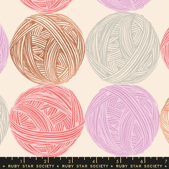 Purl Linen Natural, RS2039 11LM Ruby Star, By Sarah Watts, Moda, sold by the 1/2 yard or the yard