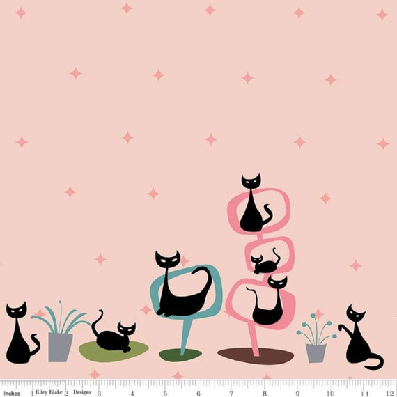 Mod Meow, Border Panel Blush, by Amanda Niederhauser, For Riley Blake Designs, sold by the yard