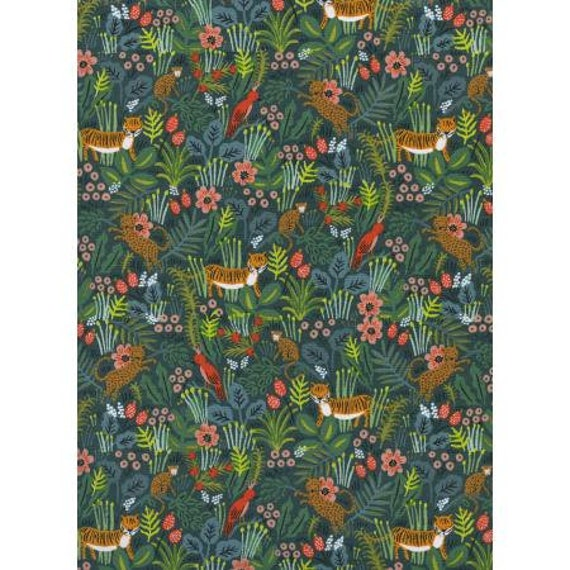AB8029-001 Menagerie - Jungle - Hunter Fabric by Rifle Paper Co, sold by the 1/2 Yard or the yard- Cut Continuously