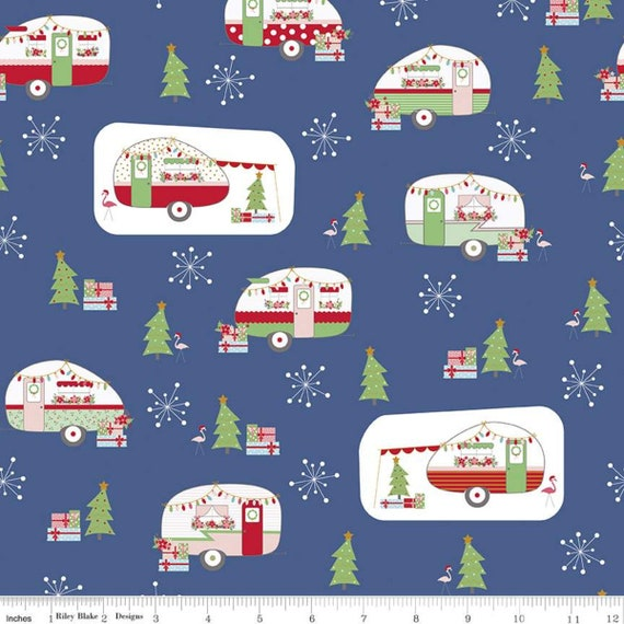Christmas Adventure, Main Denim, SC10730-Denim, by Beverly McCullough, for Riley Blake, sold by the 1/2 yard or the yard